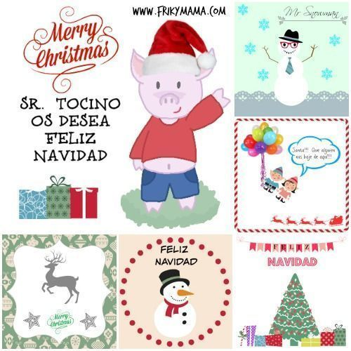 Postal navideña con whasi tape y 5 imprimibles navideños
