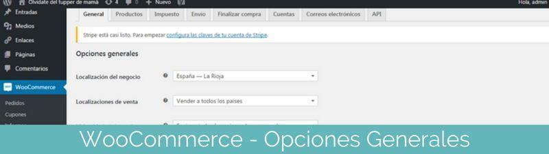 WooCommerce Opciones generales en pasos para crear una tienda online