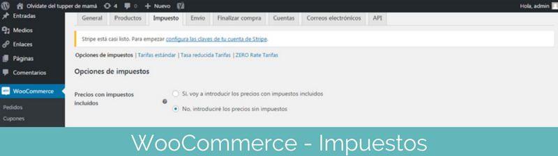 Configurar WooCoomerce impuestos en pasos para crear una tienda online