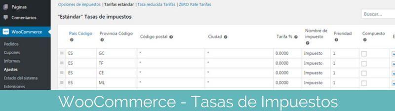 Configurar tasas de impuestos en WooCommerce en pasos para crear una tienda online